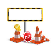 Blank Under Construction Sign in White Backgroun Stock Images