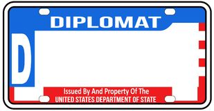 USA Diplomatic License Plate Blank royalty free illustration
