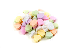 Blank valentine candy hearts. Isolated on a white background stock images
