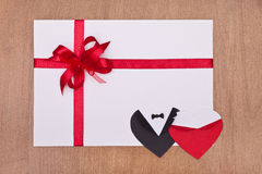 Blank valentine card with red ribbon Stock Image