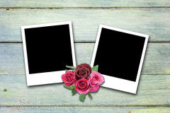 Blank valentine photo frames on wood Stock Images