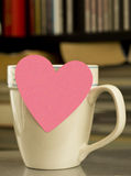 Blank Valentine Postit Note On Coffee Cup Stock Photos