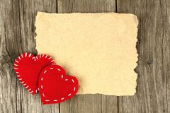 Blank Valentines card on wood Royalty Free Stock Photography