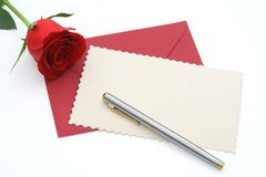 Blank valentines day greeting. Blank valentines card with copy space for custom text - isolated (clipping paths stock photo