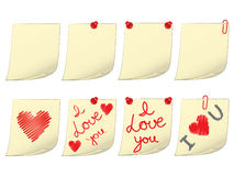 Blank and Valentines Day notes. Set of blank and Valentines Day notes Royalty Free Stock Images