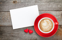 Blank Valentines Greeting Card And Red Coffee Cup Royalty Free Stock Images