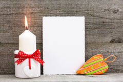 Blank Valentines greeting card with heart and candle Royalty Free Stock Photography