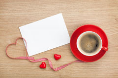 Blank valentines greeting card and red coffee cup Royalty Free Stock Photo