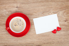 Blank valentines greeting card and red coffee cup Royalty Free Stock Photography