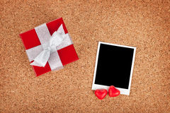 Blank valentines photo frame and gift box Stock Images
