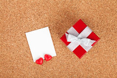 Blank valentines photo frame and gift box Stock Image