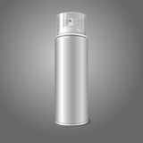 Blank vector aerosol spray metal 3D bottle can. With transparent cap Stock Photos