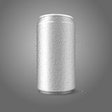 Blank vector aluminium can with condensated water. Aluminium can for different designs of beer, alcohol, soda, lemonade, cola, etc Royalty Free Stock Photo
