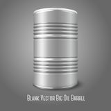 Blank vector big oil barrel isolated on gray. With. Blank  big oil barrel isolated on gray. With place for your signs, design etc. Vector illustration Stock Photos
