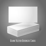 Blank vector business cards template. Pile  and. Blank vector business cards template. Pile of cards and one flat, for your design, branding etc Stock Photos