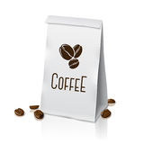 Blank vector realistic paper packaging coffee bag Stock Photos