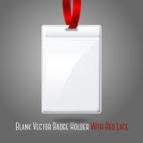 Blank vector vertical badge holderwith bright Stock Photos