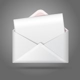 Blank vector white opened envelope and postcard Stock Photography
