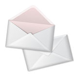 Blank vector white realistic envelopes opened and Stock Image