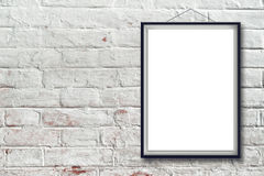 Blank vertical painting poster in black frame Royalty Free Stock Image