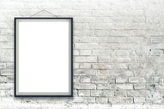 Blank vertical painting poster in black frame Stock Photo