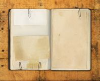 Blank Vintage Book on Weathered Wood Stock Image