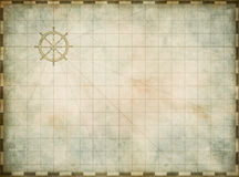 Blank vintage nautical map on worn parchment. Background Royalty Free Stock Images