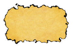Blank Vintage Paper Frame with burnt edges on white backgrounds Stock Image
