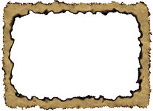 Blank Vintage Paper Frame with burnt edges on white backgrounds Stock Images