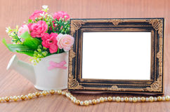 Blank vintage photo frame. Stock Photo