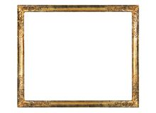 Blank vintage picture frame. Worn art nouveau picture frame, free copy space,golden ornamentation, grungy Royalty Free Stock Photography
