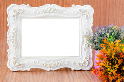 Blank Vintage Plaster white photo  frame. Royalty Free Stock Image
