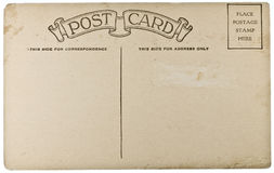Blank Vintage Postcard. From early-to-mid-1900s with copyspace Stock Photography
