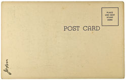 Blank Vintage Postcard. From early-to-mid-1900s with copyspace Stock Image