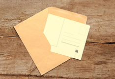 Blank vintage postcard and envelope Royalty Free Stock Photos