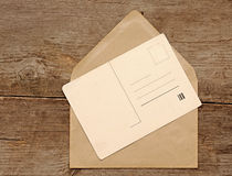 Blank vintage postcard and envelope Stock Images