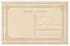 Blank Vintage Postcard with Lace Edging 1900's. Blank back of a early 1900's postcard.  Sepia tone with lace cutout trim pattern Stock Images