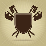 Blank Vintage Shield with Crossed Axes Royalty Free Stock Photography