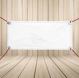 Blank vinyl banner. Blank white vinyl banner hanging with rope stock photos