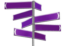 Blank violet direction sign Royalty Free Stock Image