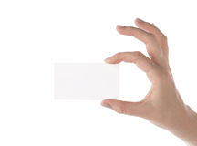 Blank visit card in female hand (isolated) Stock Image