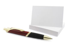 Blank visit card with pen Stock Images
