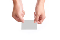 Blank visiting card with hand royalty free stock photos
