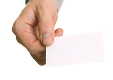 Blank visiting card in hand Royalty Free Stock Photo