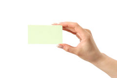 Blank visiting card in hand Stock Image