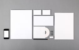 Blank visual identity. Letterhead, business cards, envelopes, CD Stock Photography