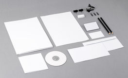 Blank visual identity. Letterhead, business cards, envelopes, fo. Photo. Template for branding identity. For graphic designers presentations and portfolios Royalty Free Stock Photo