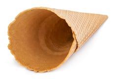 Blank waffle ice cream cone isolated on white.  stock image