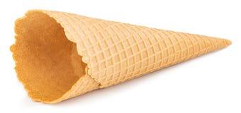 Blank waffle ice cream cone isolated on white.  stock images