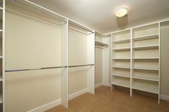 Blank walk-in closet Royalty Free Stock Photo
